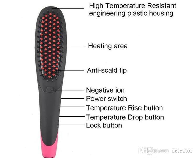 100% original NASV 300 belleza anión cepillo de plancha de pelo para uso femenino con pantalla LCD Cepillo de plancha de pelo con clips gratis