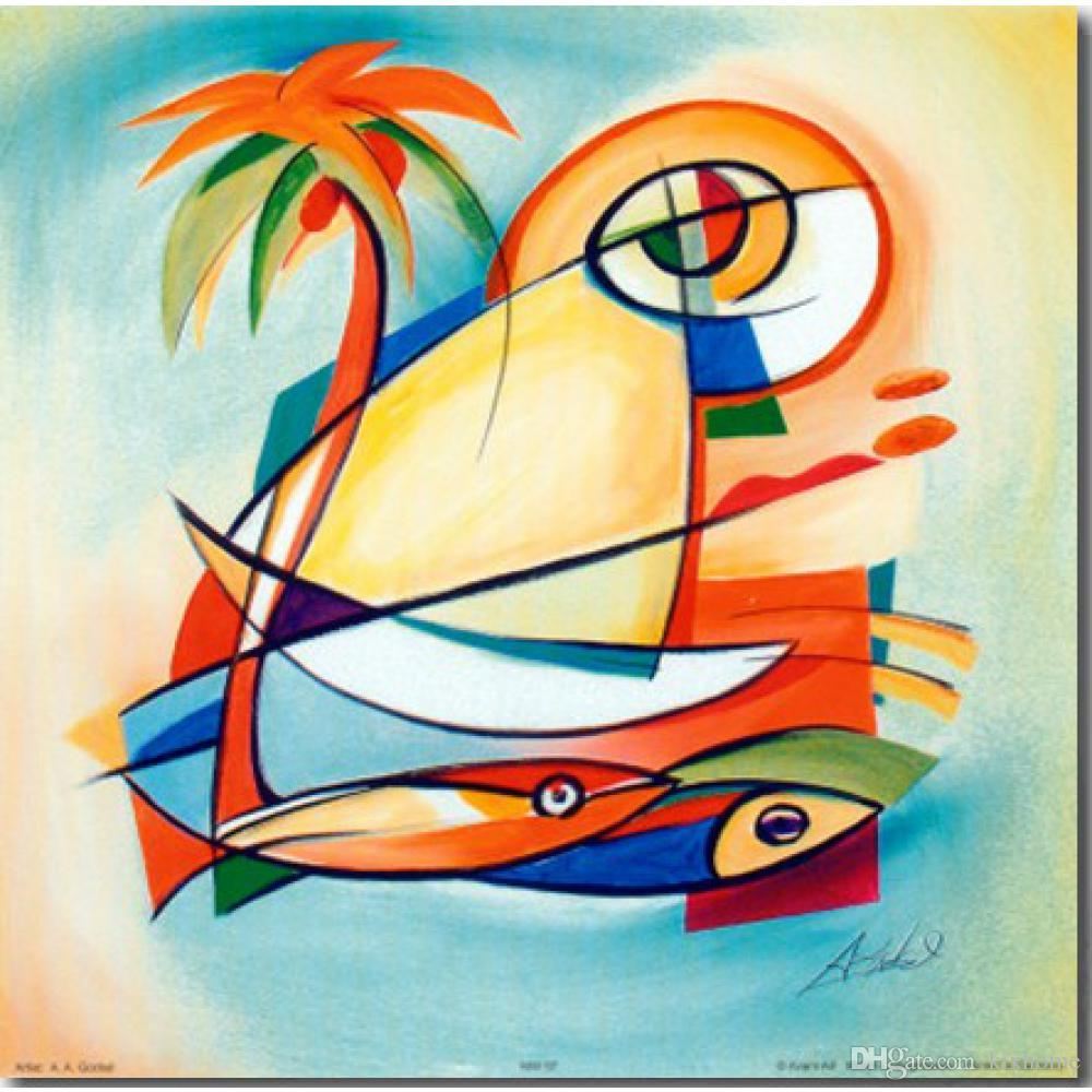 Sun Fish I Canvas Wall Art by Alfred Gockel Abstract Oil Paintings ...