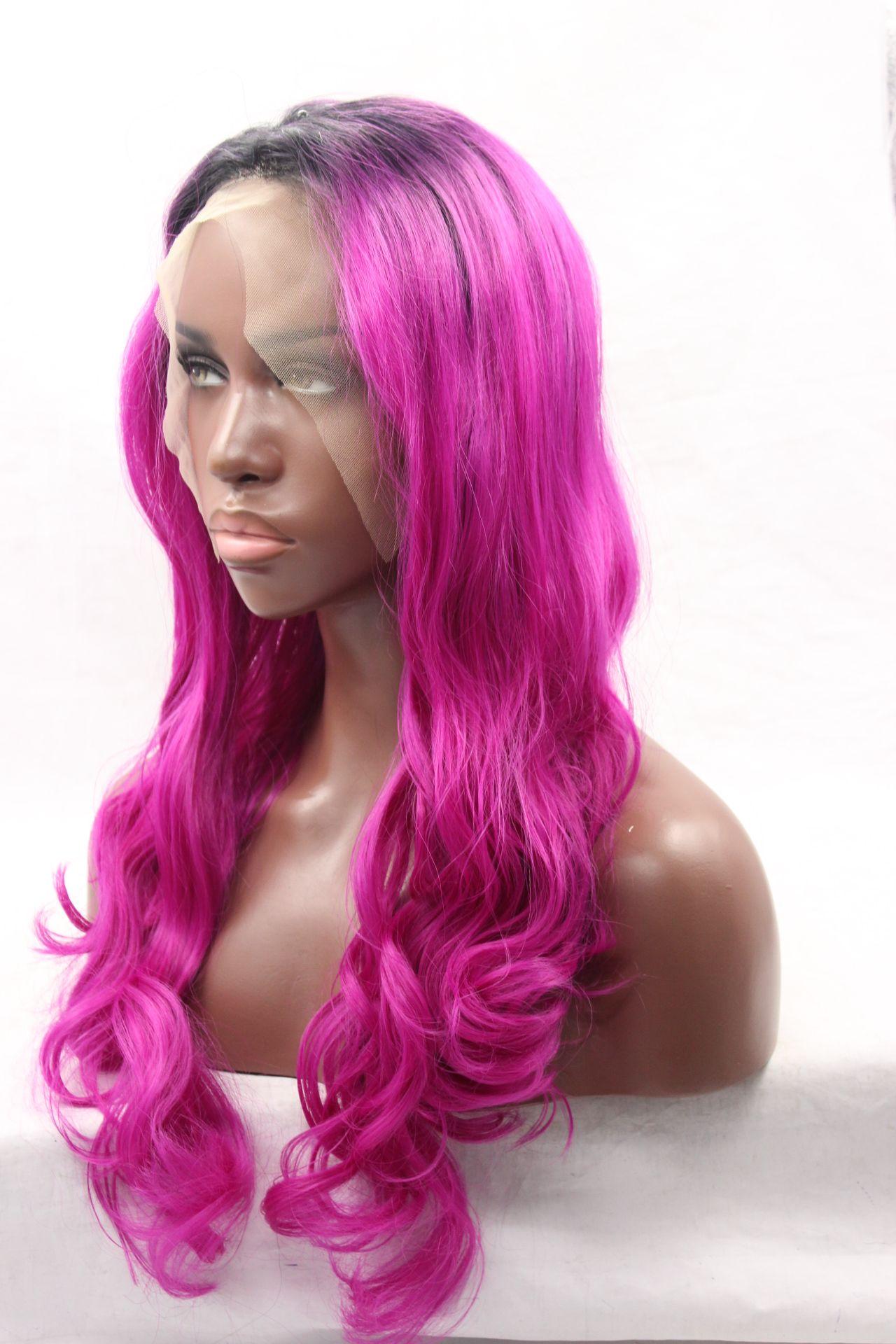 Haute Qualité Résistant À La Chaleur # 1B Noir Ombre Cheveux Naturel Vague de Corps Dentelle Avant Perruque Pas Cher Synthétique Dentelle Avant Perruque Pour Les Femmes Noires