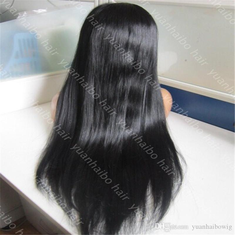 Top sale 8a grade brazilian hair wig 130 density straight human hair wig 1b color full lace wig with bangs