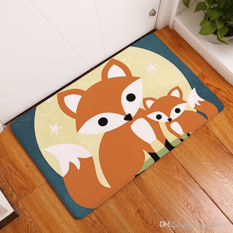 Cartoon Kinderzimmer Teppich gedruckt Fuchs Baby Teppiche weiche Fußmatte  Kawaii Alfombra Eule Schlafzimmer Badezimmer Bodenmatte