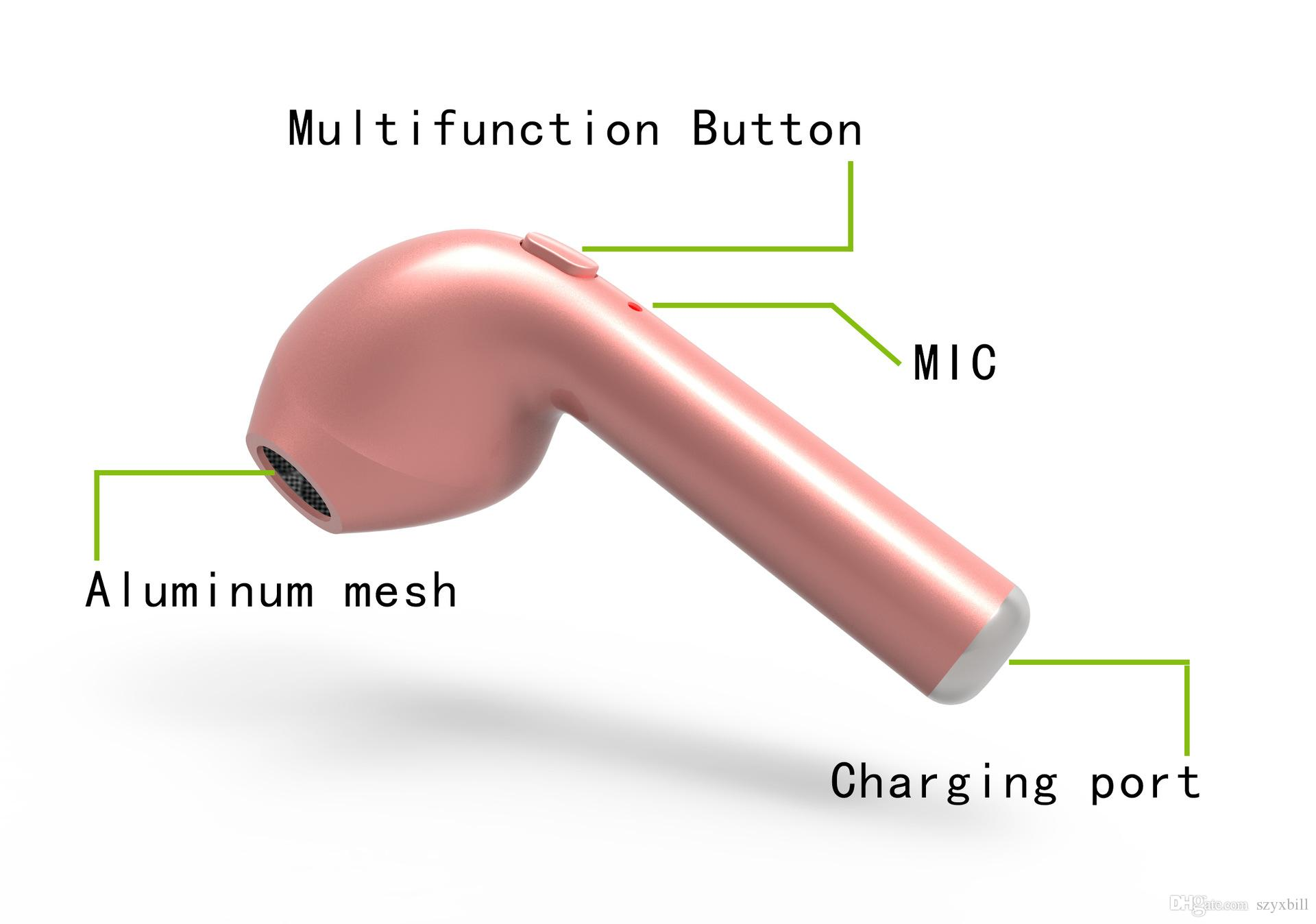HBQ i7 Mini Bluetooth Ohrhörer Einzel Wireless Unsichtbarer Kopfhörer Stereo Headset Kopfhörer mit Mic Stereo Bluetooth Kopfhörer für iPhone 7 7s