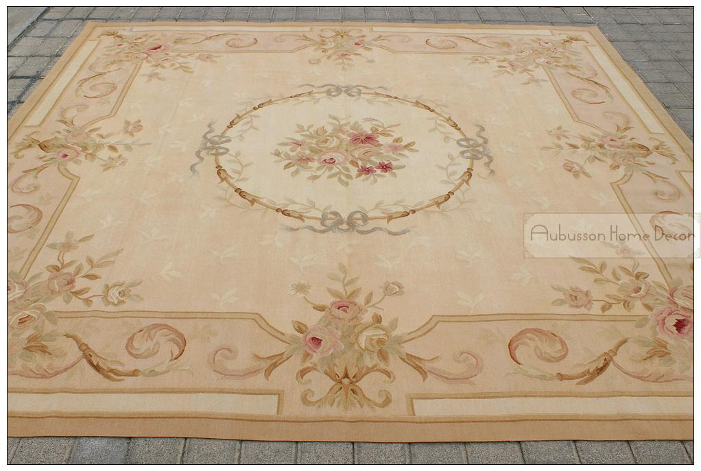 2.5m Square Aubusson Area Rug Antique French Neutral Pastel Wool Handmade  Carpet Flat Weave Bedroom Living Room Hallway Home Decor Discount Carpet  Tiles ...