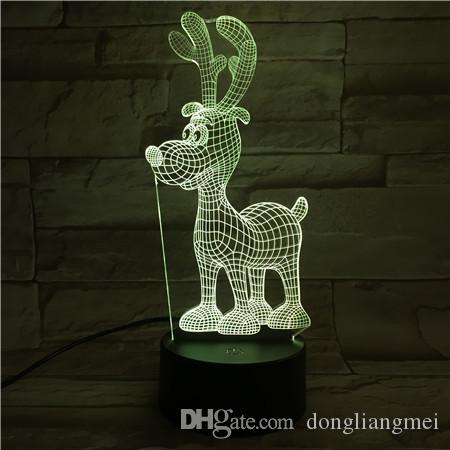 New Remote Control 3D Standing deer Rudolph Table Lamp USB Colorful 7 Color Change LED Home Party Bedroom Decorative Night Light Gift 2wn315