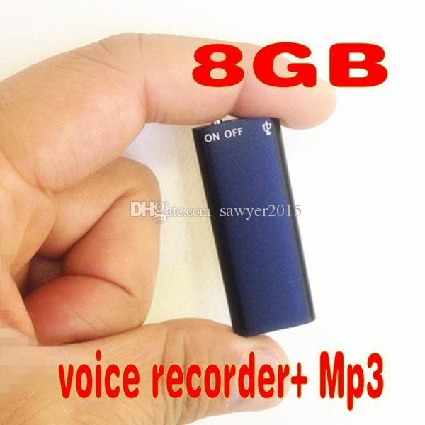 صغير جدًا 4 جيجابايت 8 جيجابايت 2 في 1 دعم تسجيل صوتي رقمي صغير دعم صوتي لمدة 13 ساعة تسجيل صوتي على القرص مع مشغل MP3