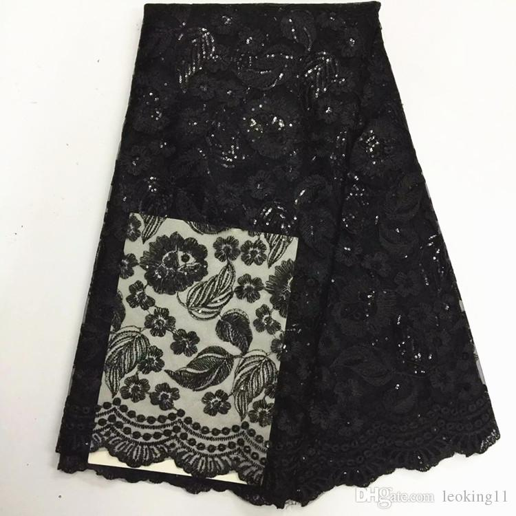 5 Y/pc fashionable green french net lace fabric with sequins leaves embroidery african mesh lace for clothes BN58-4