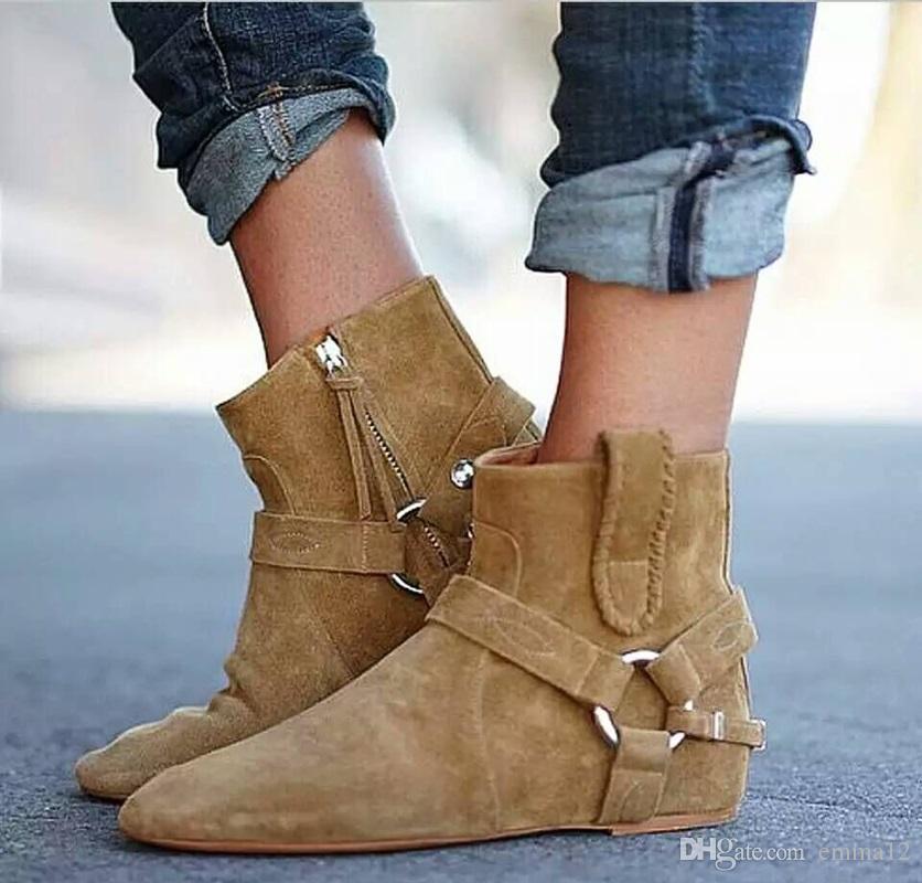 2018 Primavera Otoño con flecos Altura Creciente Tobillo Botines Punta Redonda Roma Diseñado Suede Oculto Cuña Señora Botas Cortas Zapatos