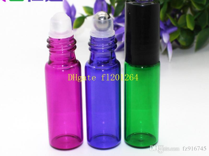 Coloful 5ml Empty Roll on Glass Bottle for Essential Oil Metal & glass Roller Ball for choice