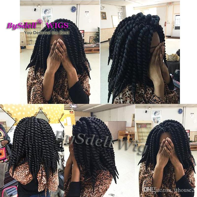 New Arrival Synthetic Kinky Twist Senegal lock Braided None Lace Wig Big Mambo Twist Box Braid Hair Wigs for Black Women