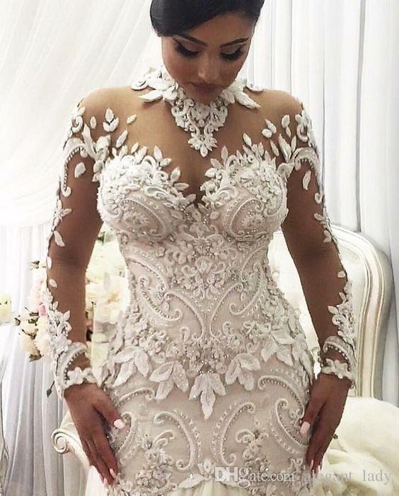 Azzaria Haute Плюс Размер Иллюзия Длинные Рукава Русалка Свадебные Платья Нигерия Высокая Шея Полный назад Дубай Арабский Замок Свадебное Платье