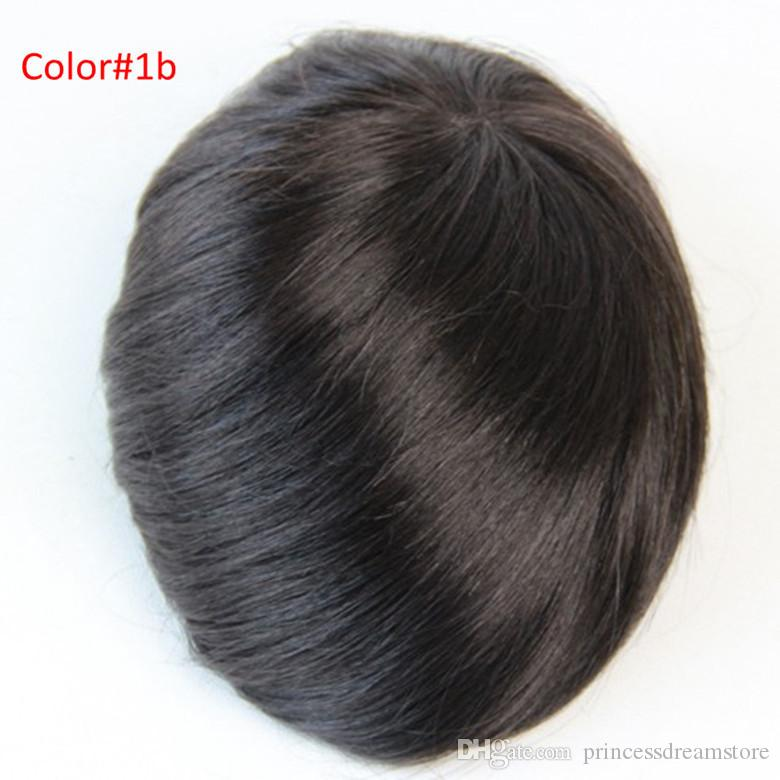 6x8inch Men's toupee human hair replacement Indian hair toupee for men mono lace #1B Color no shedding no tangle For men wig