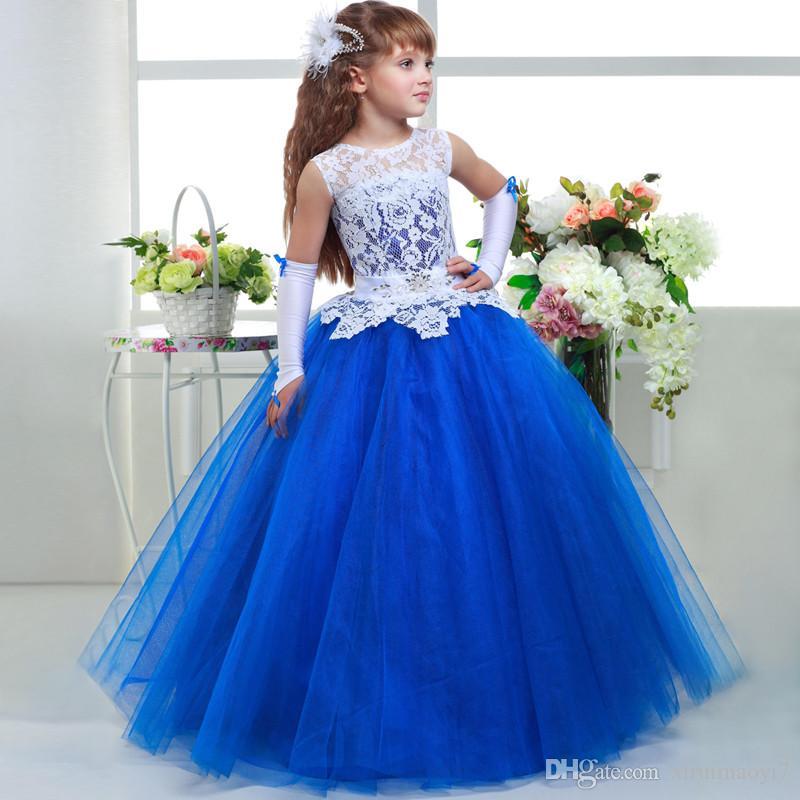 Vestiti blu dalla ragazza del fiore di lusso 2017 nuovi vestiti di graduazione bambini Merletto di scollo rotondo del merletto Vestito da prima comunione il concorso delle ragazze