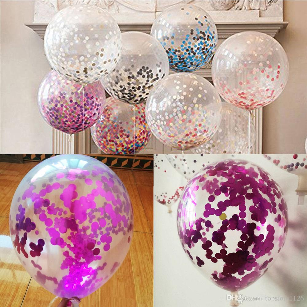 New Mixed Color Latex Sequins Filled Clear Balloons Novelty Kids Toys Beautiful Birthday Party Wedding Decorations