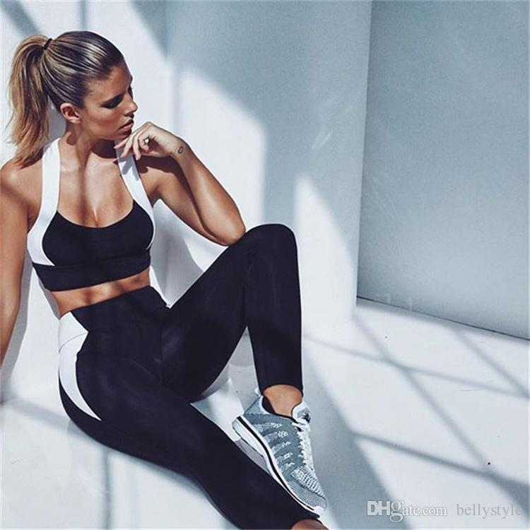 8ed033f1873 2019 Women Black And White Print Fitness Yoga Set Gym Sports Running  Jumpsuits Jogging Dance Tracksuit Breathable Quick Dry Sportswear Clothe  HGE From ...