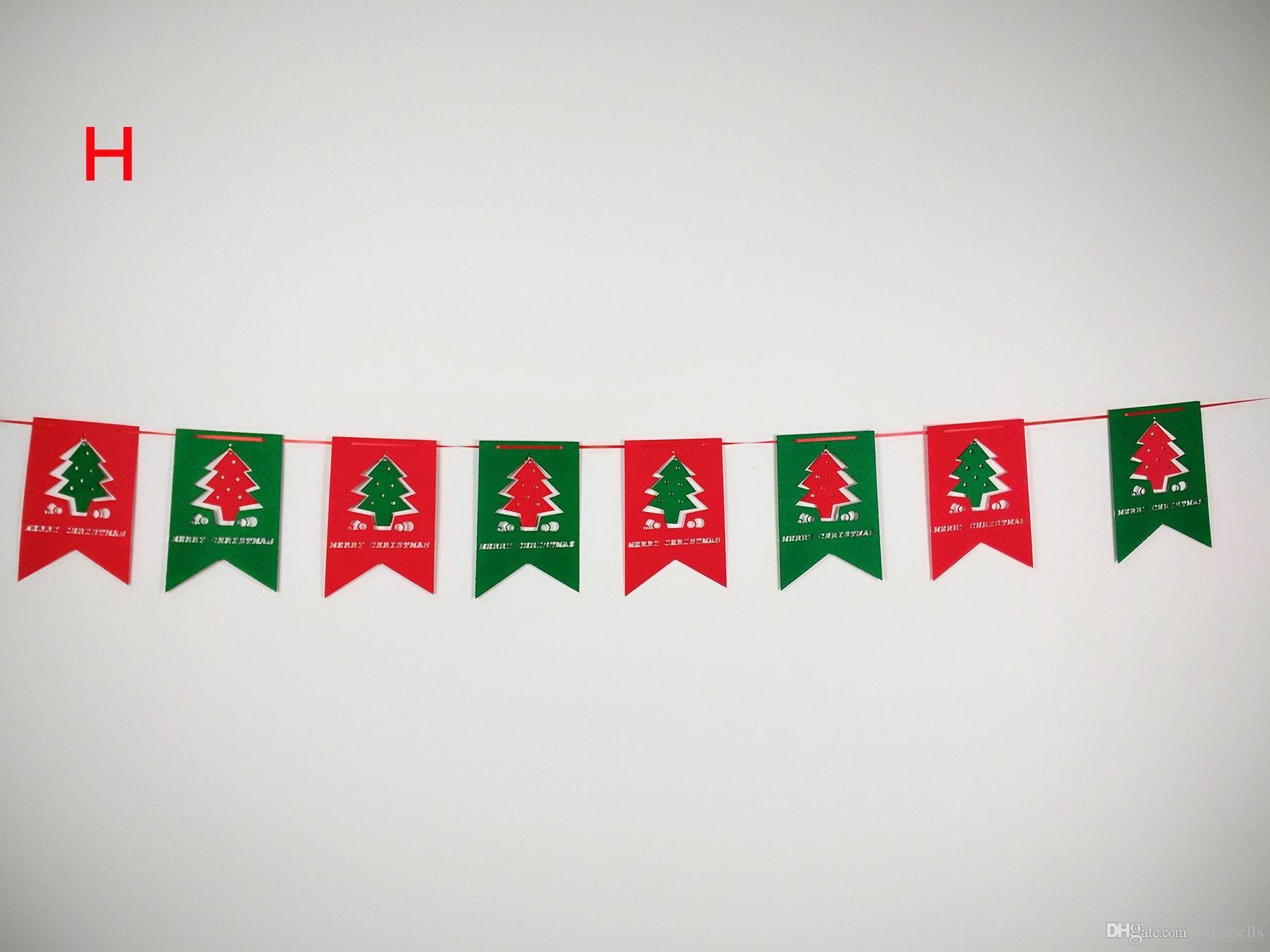 Weihnachtsbaum Ornamente hängen Bier Socke Schneemann Banner Fenster Markt Einkaufszentrum Weihnachtsfeier DIY Dekorationen 3M Pull Blumen