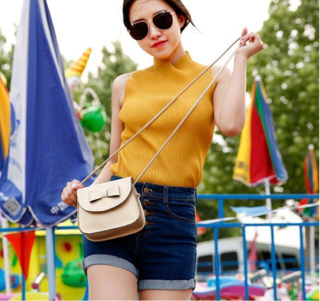2017 Yeni Lady Kızlar Moda Çanta Sevimli Yay Düğüm Omuz Çantaları PU Deri Çapraz Vücut Messenger Çanta Çanta 11 renkler