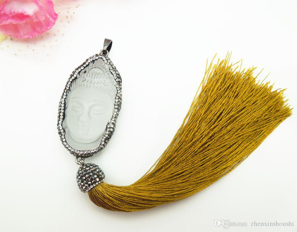 White Glass Crystal Carved Buddha Beads with Silk Tassel Pendant, Pave Crystal Rhinestone Charm Long Tassel Pendant