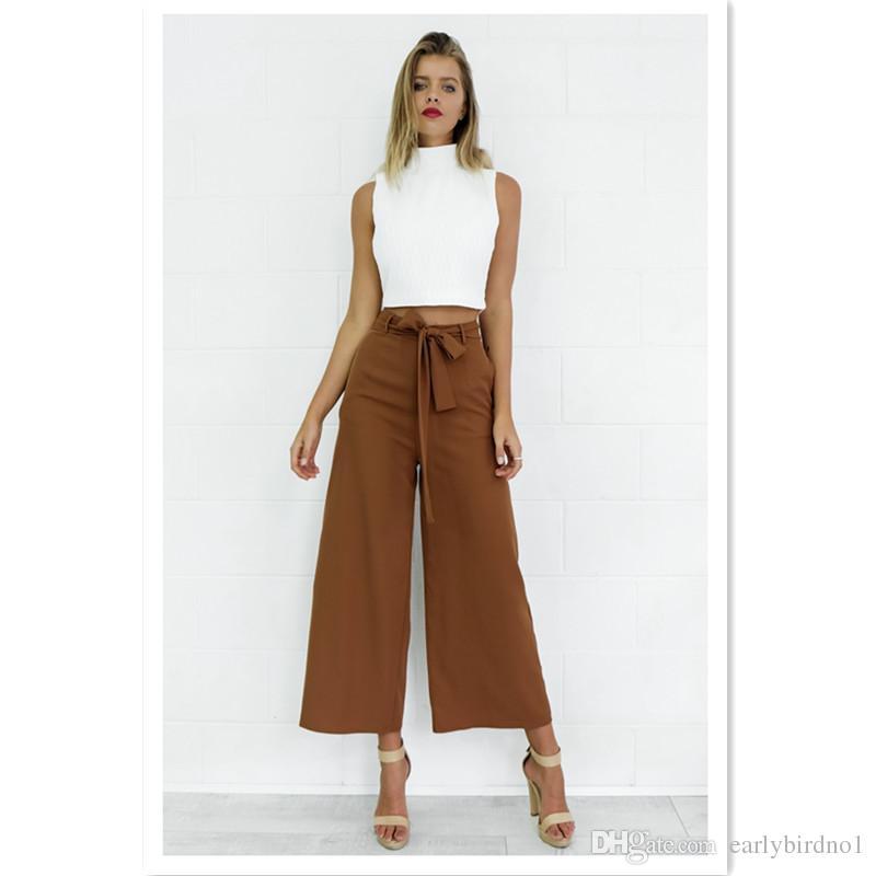 2018 Nouveau Pas Cher Femmes D'été Noir Marron En Mousseline De Soie Pantalon Femmes Vêtements Mode Casual Pantalon Large Jambe Printemps Automne Pantalon Pantalon FS3006