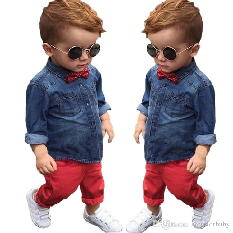 95bf1a89be1a Children Boy Bow Tie Fashion Suits Long Sleeves Denim Shirt+trousers ...