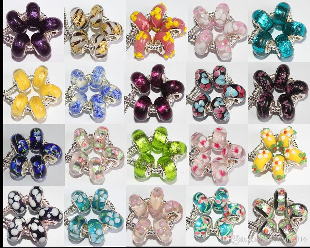 100 Stück Mixed 925 Sterling Silber Murano Lampwork Glasperlen Charme Handgefertigte Große Loch Lose Perlen Für Pandora Europäischen Armband Halskette Xma
