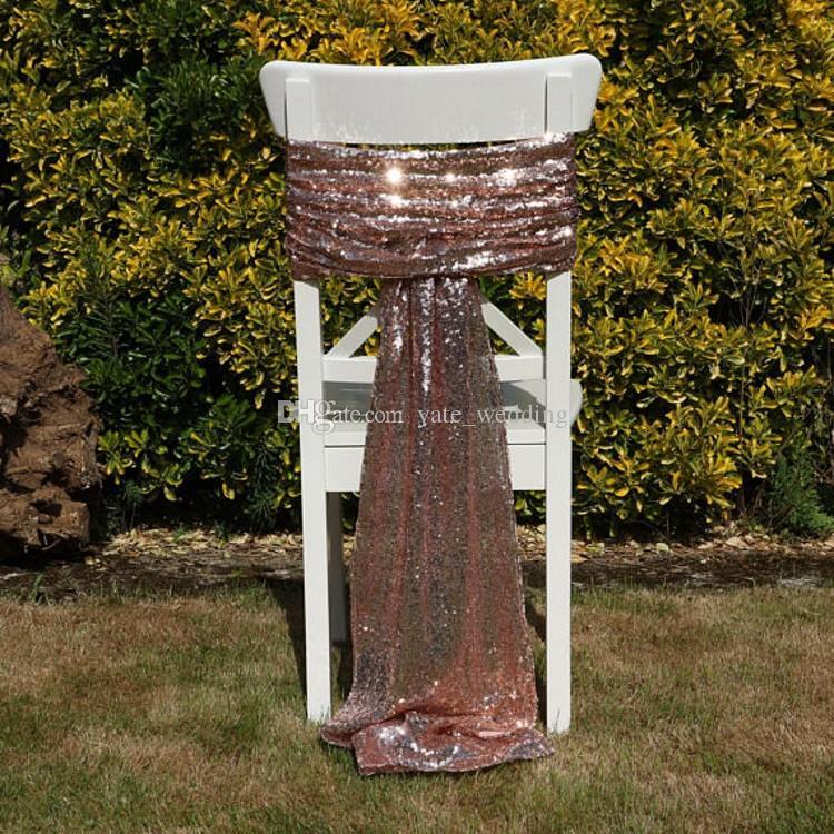 Luxe Rose Or Paillettes Chaise Ceintures Sur Mesure Mariage Décoration Décor Éblouissante Chaise Bows Chair Covers Taille 50 * 200 cm