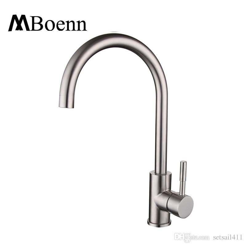 2019 Sus304 Stainless Steel Kitchen Sink Faucets Brushed Mixer Water