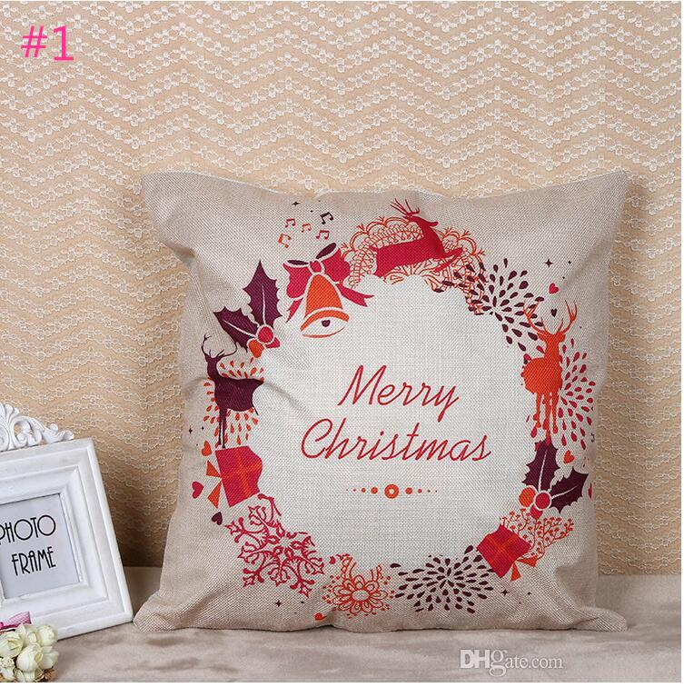 Christmas Letter Print Linen Pillow Case Personal Lumbar Pillow Cushion Covers Creative Pillowslip Christmas Party Hotel Home Decor Gifts