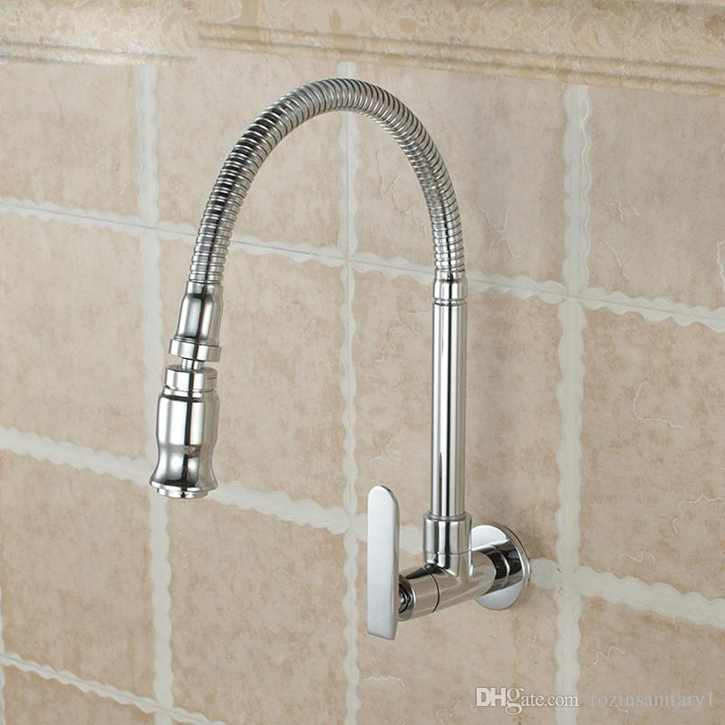 Wall Mounted Sprayer Kitchen Faucet Cold Water Faucet Single Handle Chrome Flexible Hose Kitchen Mixer Taps Single Holes