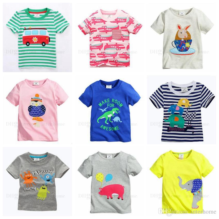 6d92ac4b1285 2019 Baby Clothes Boys Print Shirts Toddler Cartoon Shirt Girl Short Sleeve  Cotton Shirt Kids Summer Tops Children Kids Clothing 40 Designs H624 From  ...