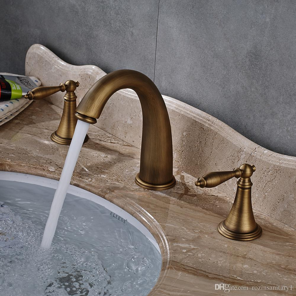 Oil Rubbed Bronze Antique Brass Golden Deck Mounted Basin Sink Faucet waterfall spout Single Handle single Hole Mixer Tap