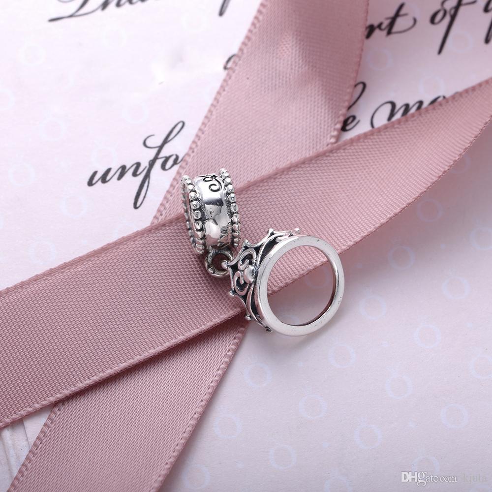 حلية My Princess Tiara ذات التعلق الفضي. تاج تاج الأميرة الفضية التي تتميز بالنقش الدقيق ولهجات الزركونيا المكعبة