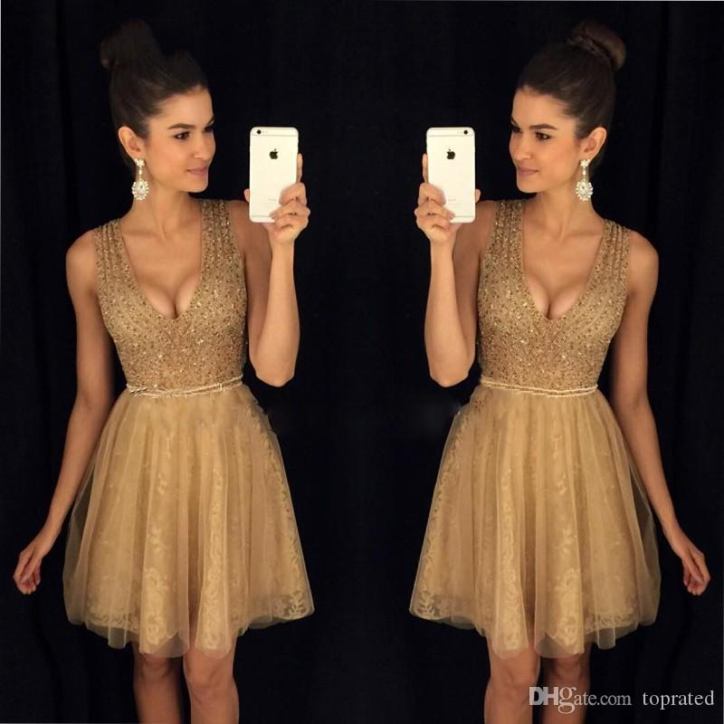 Gold A-Line Bling Beaded Homecoming Dresses Deep V Neck curto Short Prom Gowns Semi 8th Grade Lace Girls Graduation Dresses