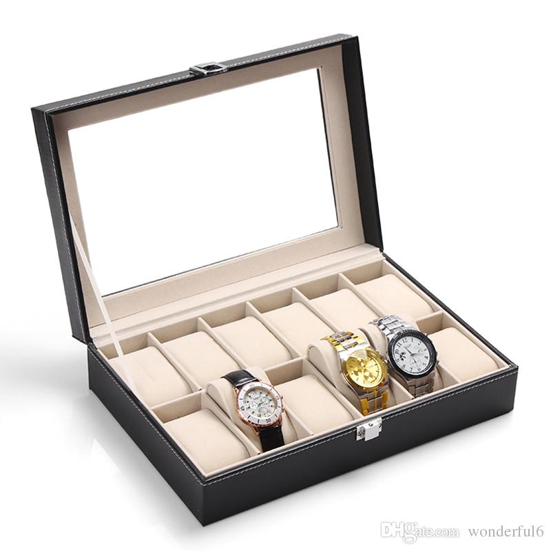 Luxury 12 Grids Black Leather Watch Box Jewelry Display Collection Storage Case Watch Organizer Box With Transparent Glass Cover