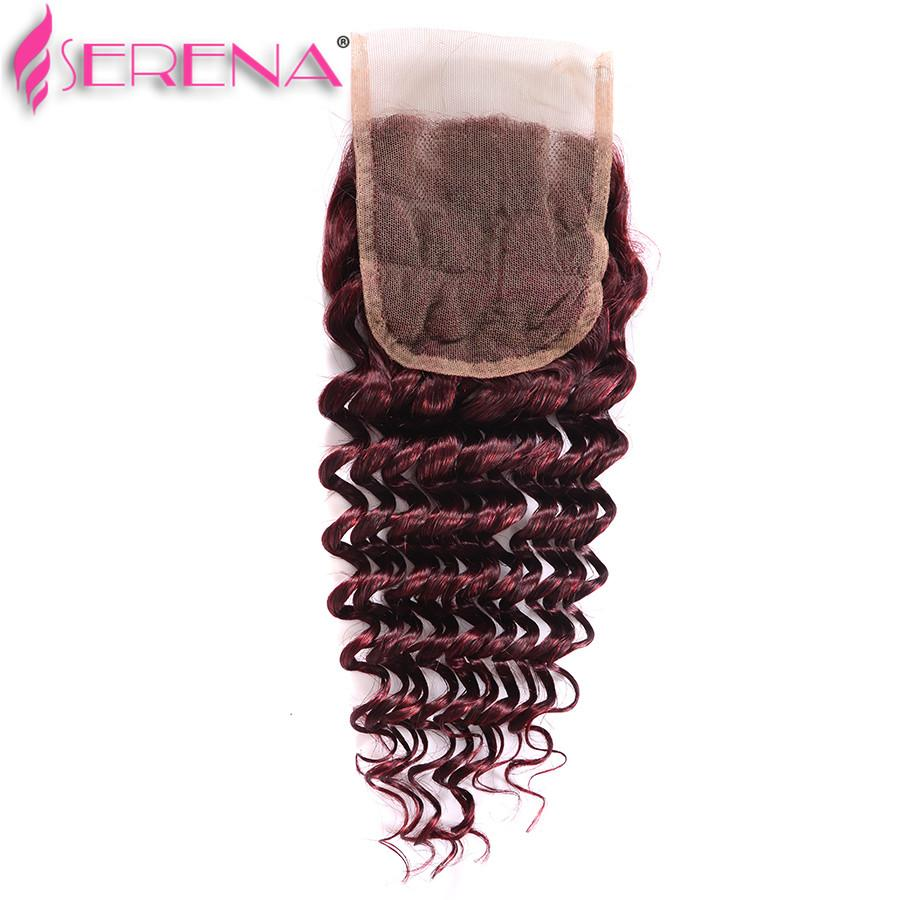 Burgundy Wine Red Wet And Wavy Lace Frontal Closure Deep Wave Brazilian Hair With Closure Crochet Braid Cabelo Humano Com Lace 99j Bundles