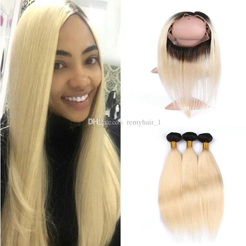 Platinum Blonde Ombre Pre Plucked 360 Frontal Closure With