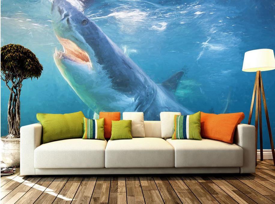 Underwater Wall Mural hand painted shark underwater world tv wall mural 3d wallpaper 3d