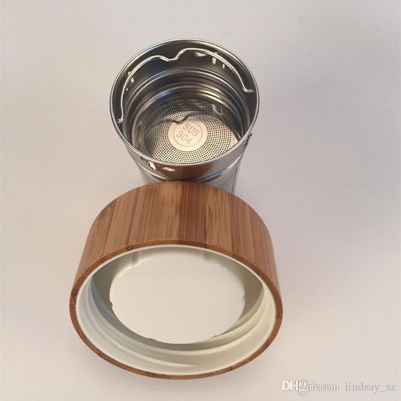 Tampa de bambu de 400 ml Copo de chá de vidro com paredes duplas. Inclui filtro e infusor cesta de garrafas de água transporte rápido