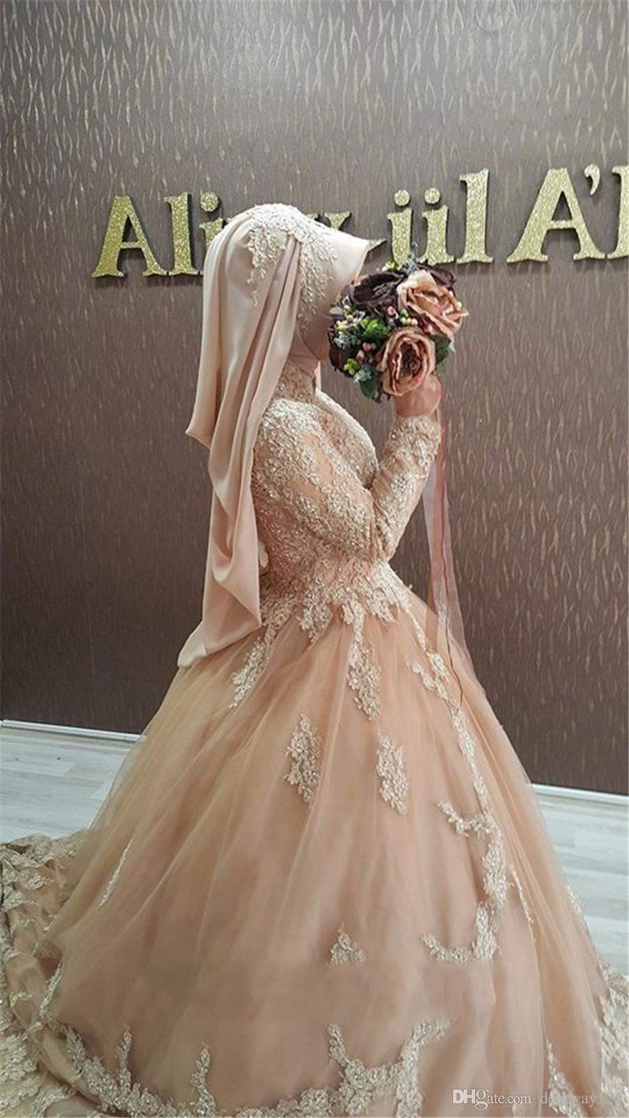 Vestido de novia de manga larga de encaje apliques Champagne alta escote boda musulmana islámica Vestidos Con Hihab Bata de mariage