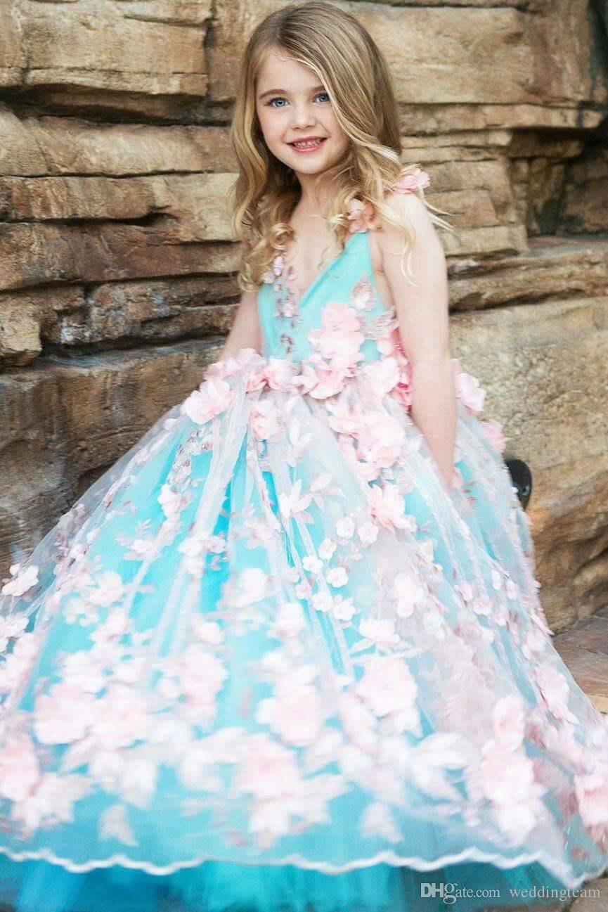 Nuovo arrivo abito da ballo ragazze pageant abiti aperto indietro toddler flower girl dress lunghezza del pavimento tulle 3d appliques abiti prima comunione
