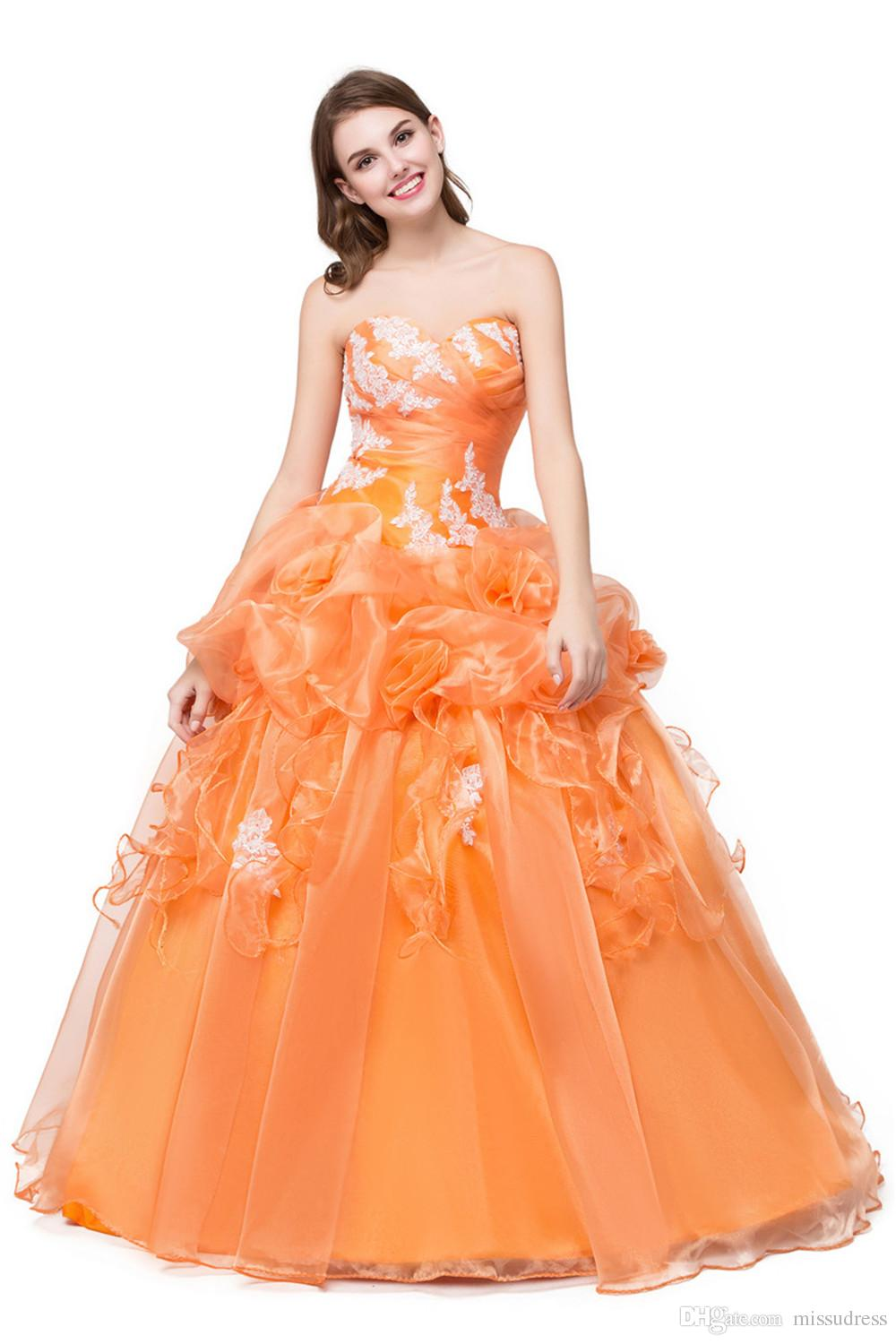 Sweetheart Organza Cheap Prom Dresses Ball Gown Ruffle Hand Made ...