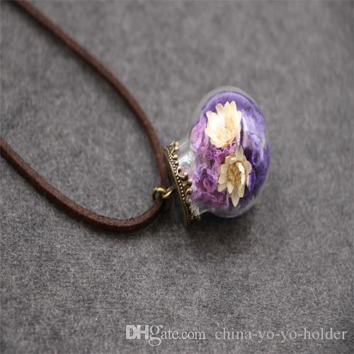 Minik Orb Teraryum Takı Çiçek Kolye İstek Kolye ile Doğa Mücevherat Good Luck Charm Nedime Hediye B58Q