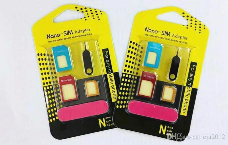 Metalldesign Handy 5in1 SIM Adapter Großhandel Handy-Zubehör für IPhone Samsung Nano Karten Micro Karten Standard-Karten