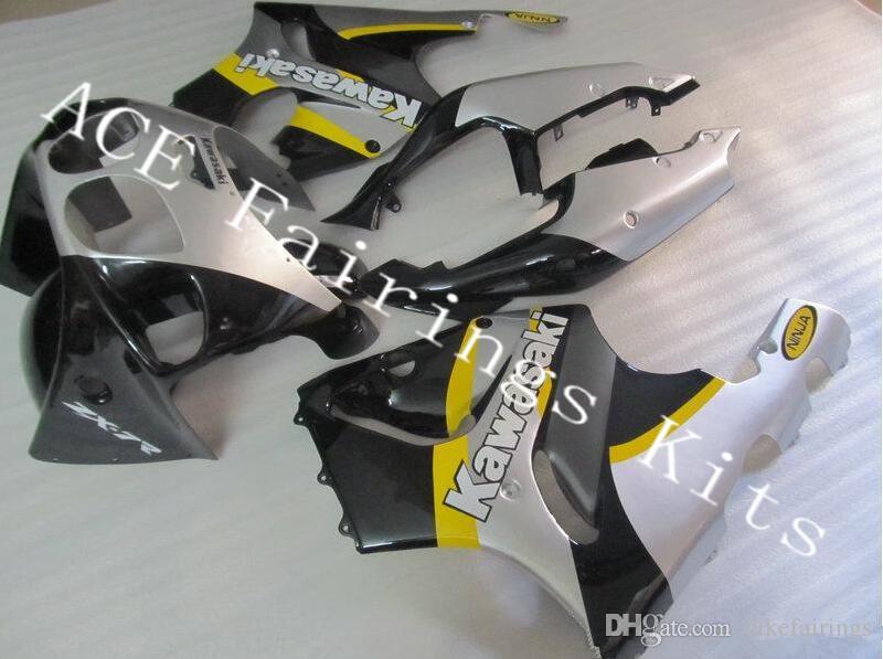 Three free beautiful gift new high quality ABS fairing plates for Kawasaki Ninja ZX-7R 1996-2003 ZX7R Very nice black silver yellow