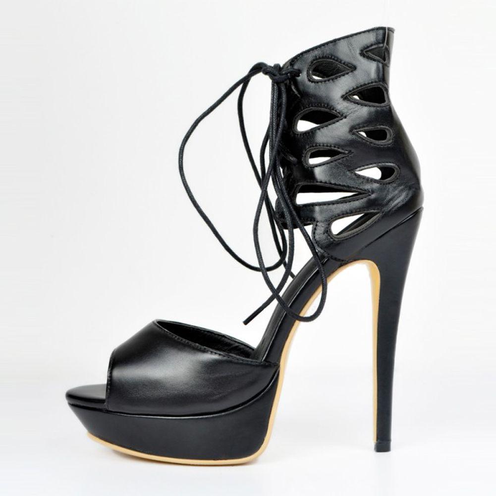 Kolnoo Womens Fashion Handmade Large Size D'orsay Cross Lace-up High Heel Platform Sandals Shoes Black XD178-01