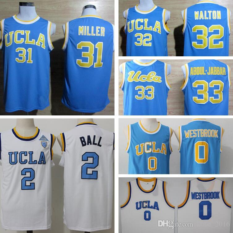 ab5891e66a42 ... 2017 Men Ucla Bruins College Basketball Jerseys 0 Russell Westbrook  Blue White 2 Lonzo Ball Jersey ...