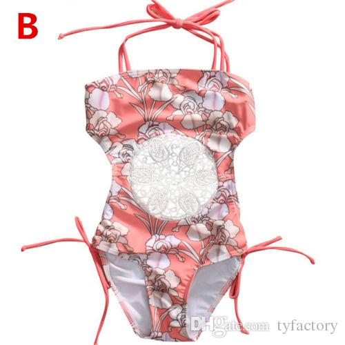 Summer One-piece Kids Girls Baby Swimwear Flowers Pattern Swimsuit Bathing Floral Princess Dresses Clothing Age 0-5T
