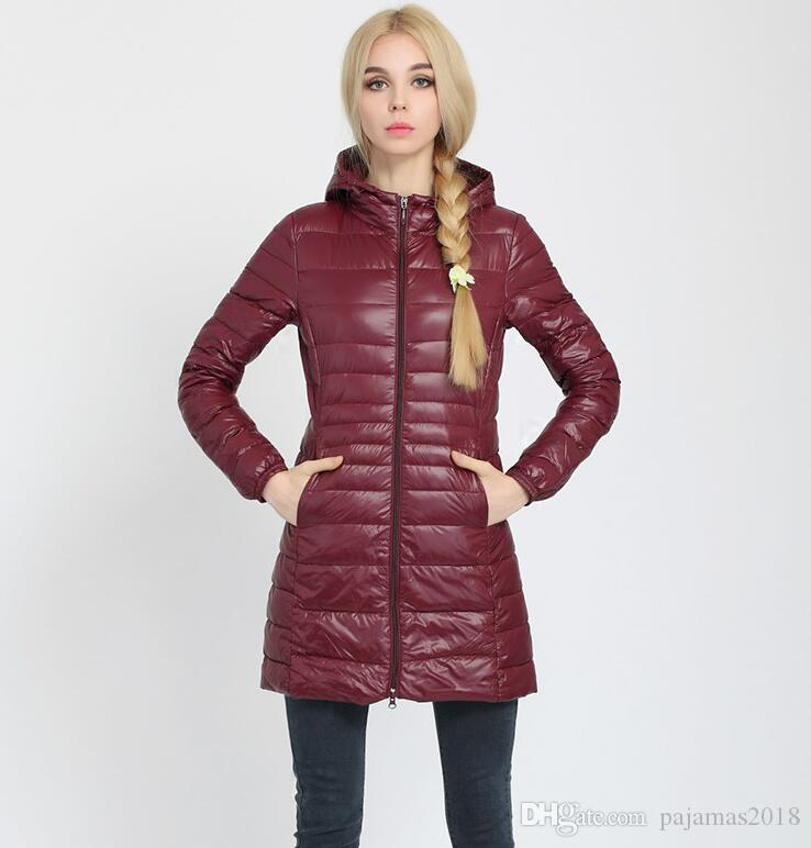 2018 Winter Down Jacket Women Long Hooded Parkas Coats Outwear ...