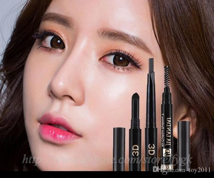 Wasserdichtes langlebiges Dreieck-natürliches Make-upaugenbrauenstift-Augenbraue-Zwischenlage mit Bürsten-Make-upwerkzeug-5 verschiedenen Farben