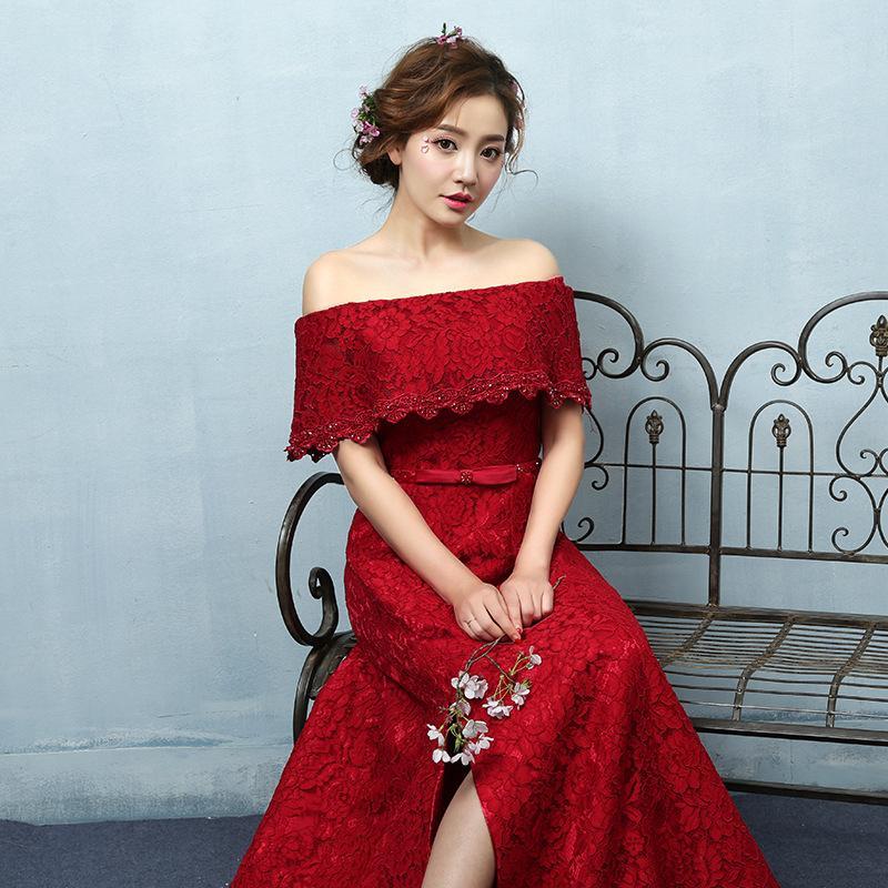 Bride Big Red Elegance Word Shoulder Lace Dress Skirt Long Paragraph ...