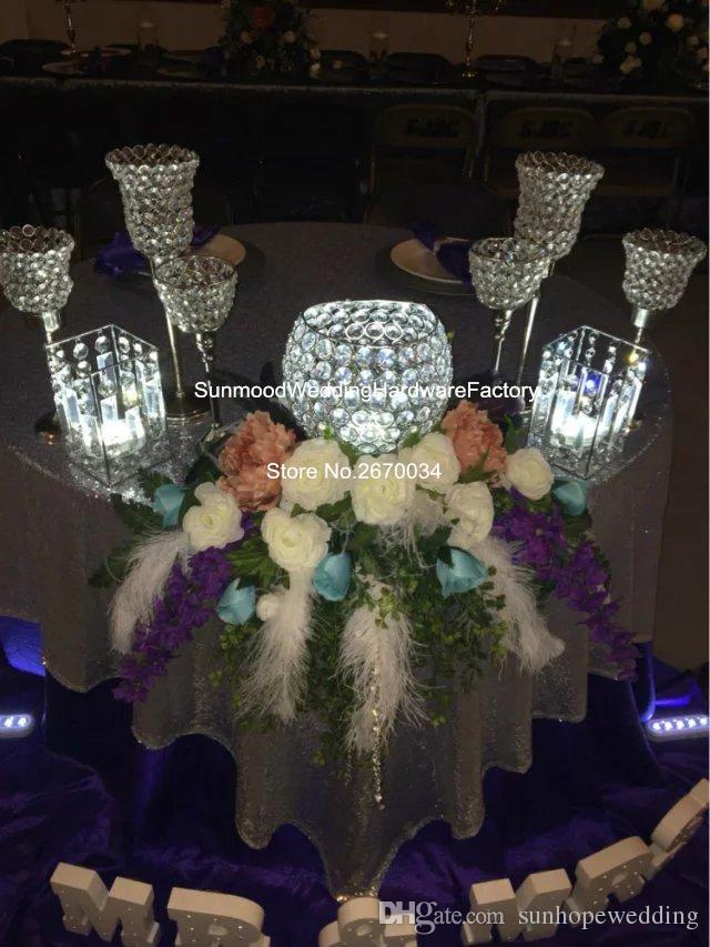 كرة بلورية فقط شمعدان طويل من الكريستال للزفاف / شمعدان معدني مع محور زهور الزفاف للبيع